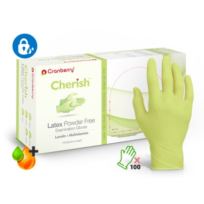 Cranberry 100's CHERISH™ Latex Powder Free (Moisture Lock) Examination Gloves
