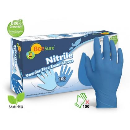 BeeSure 100's Nitrile Powder Free Examination Gloves