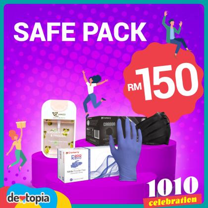Dentopia Safe Pack   Gloves + Face Masks + Sanitizer Combo